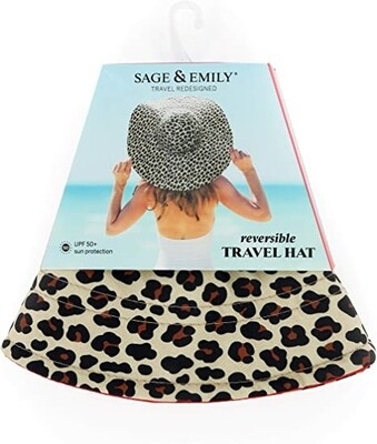 Sage & Emily Reversible 50 SPF Sun Hat | Cheetah/Red