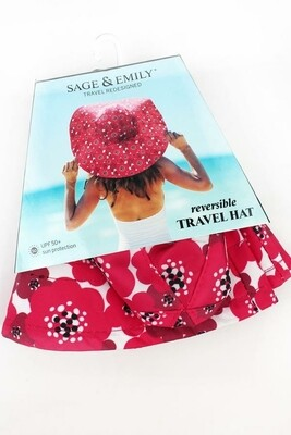 Sage & Emily Reversible 50 SPF Sun Hat | Red Poppy/Black