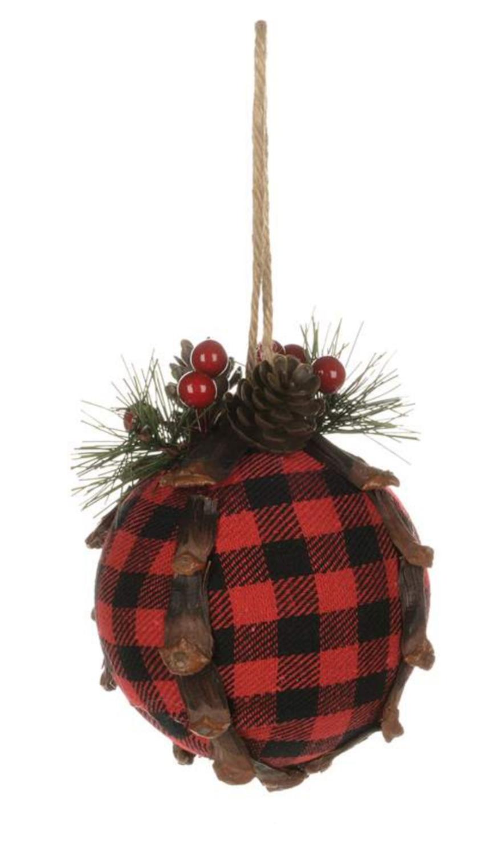 Rustic Plaid Ball Ornament | Red & Black