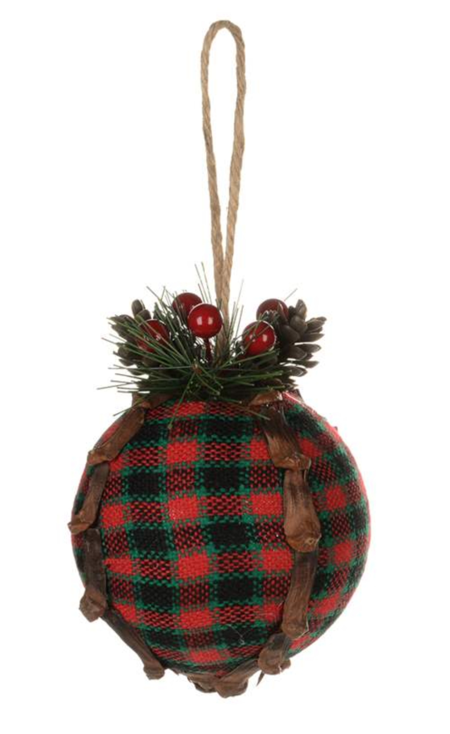 Rustic Plaid Ball Ornament | Red & Green