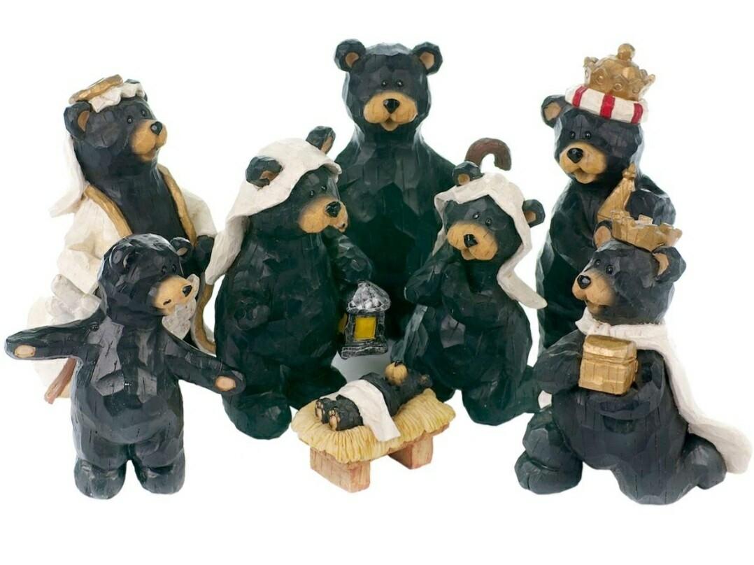 Black Bear Nativity Set (Set of 8)