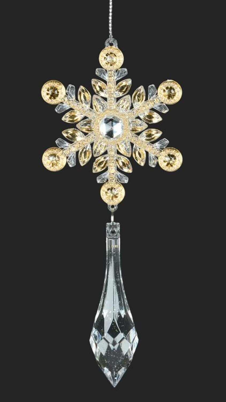 Snowflake Ornament w/ Teardrop | Gold