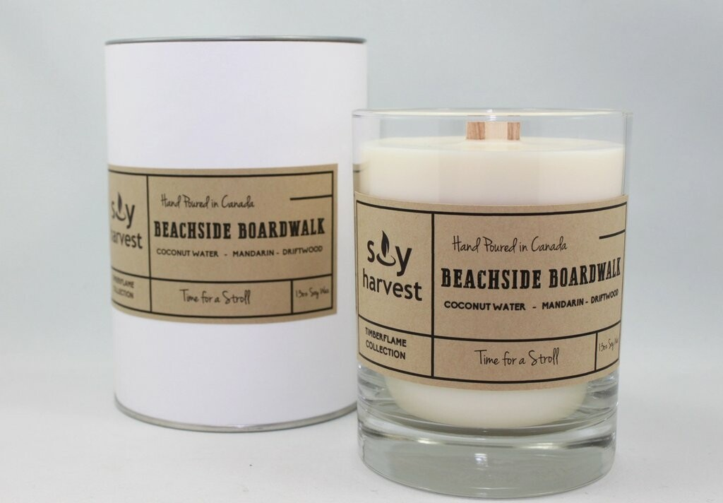 Soy Harvest Timberflame Candle   Beachside Boardwalk