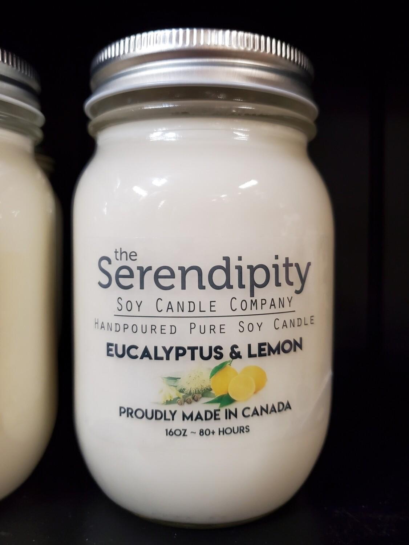 Serendipity 16 oz Soy Candle Jar | Eucalyptus & Lemon