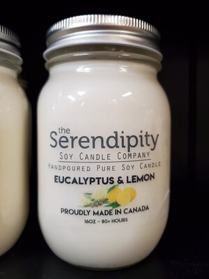 Serendipity 16 oz Soy Candle Jar | Eucalyptus & Lemon