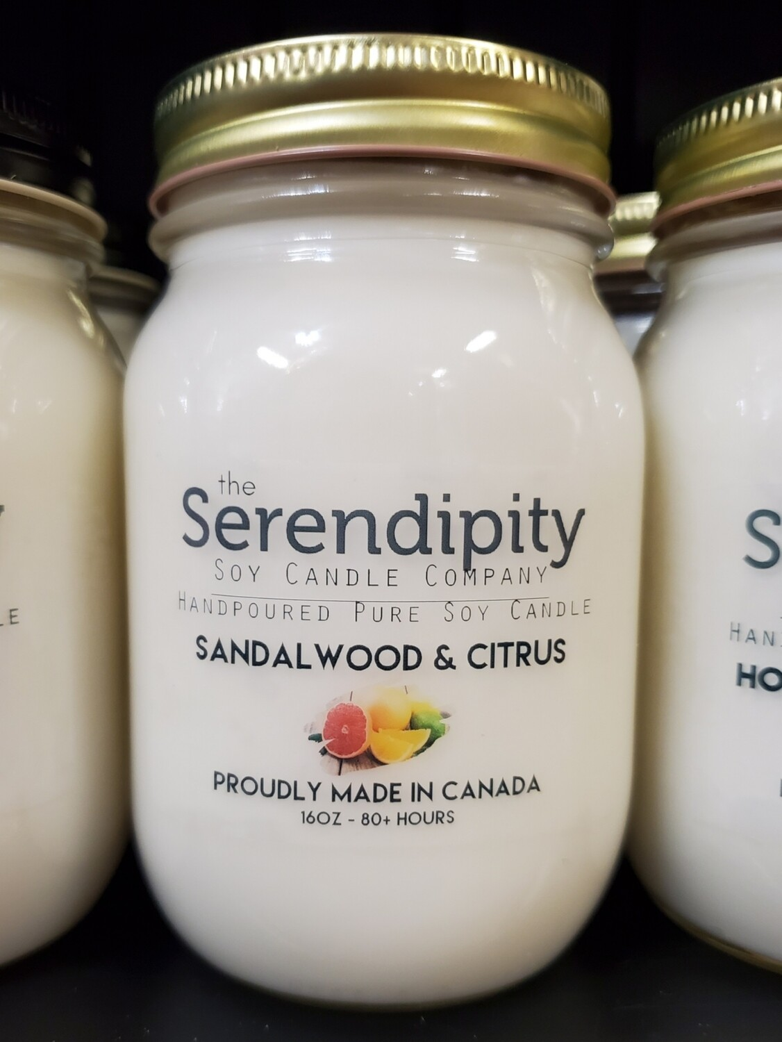 Serendipity 16 oz Soy Candle Jar | Sandalwood & Citrus