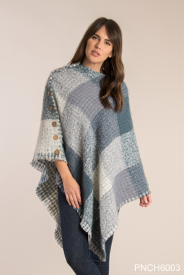 Simply Noelle - Plaid and Houndstooth Poncho | Teal