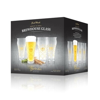Final Touch   Barley & Hops Brewhouse Glass (Set of 4)