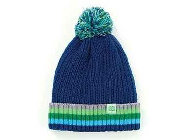 Britt's Knits Kid's Play All Day Plush-Lined Pom Hat | Dark Blue