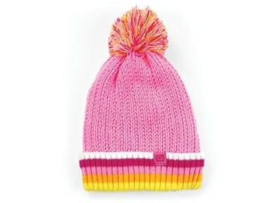 Britt's Knits Kid's Play All Day Plush-Lined Pom Hat | Pink