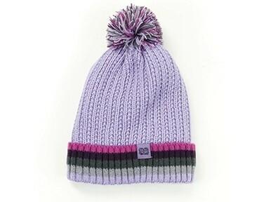 Britt's Knits Kid's Play All Day Plush-Lined Pom Hat | Purple