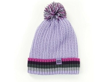 Britt's Knits Kid's Play All Day Plush-Lined Pom Hat | Purple