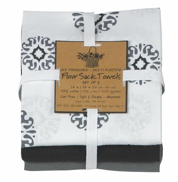Kay Dee Designs Flour Sack Towel (Set of 3) | Charcoal Medallion