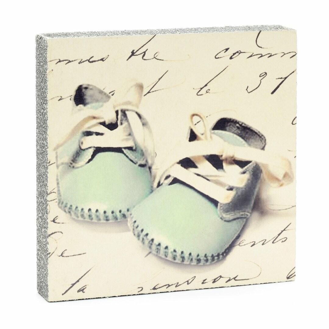 Cedar Mountain Little Gem Art Block - Blue Baby Shoes