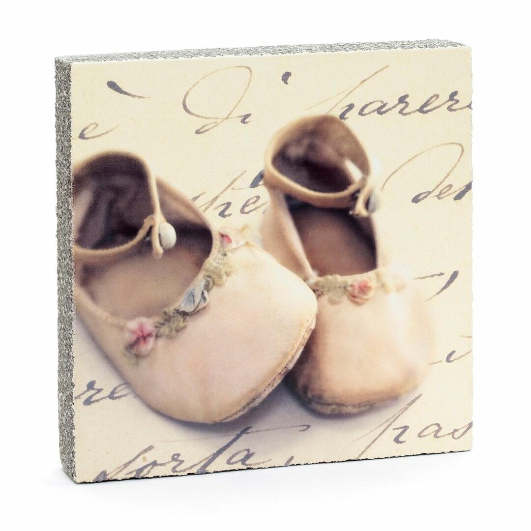 Cedar Mountain Little Gem Art Block - Pink Baby Shoes