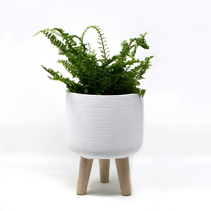 Natural Living | Trini Small Standing Planter - White