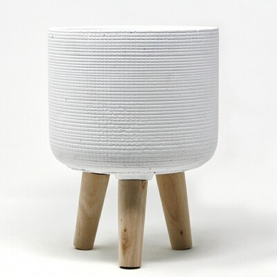 Natural Living | Trini Large Standing Planter - White