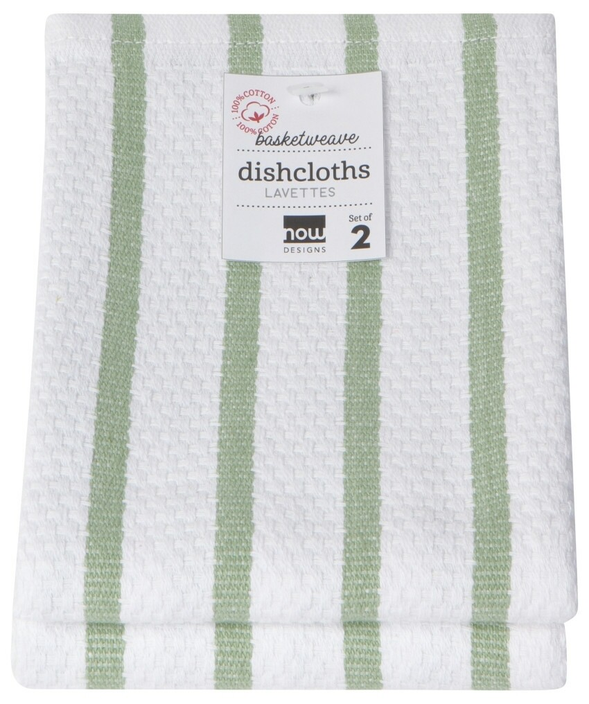 Now Designs Basketweave Dishcloths Set of 2 - Sage