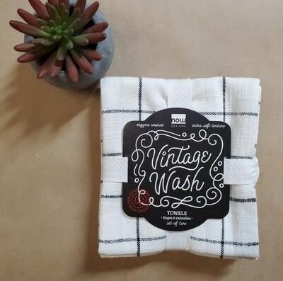 Now Designs Vintage Wash Towels (Set of 2)   Black