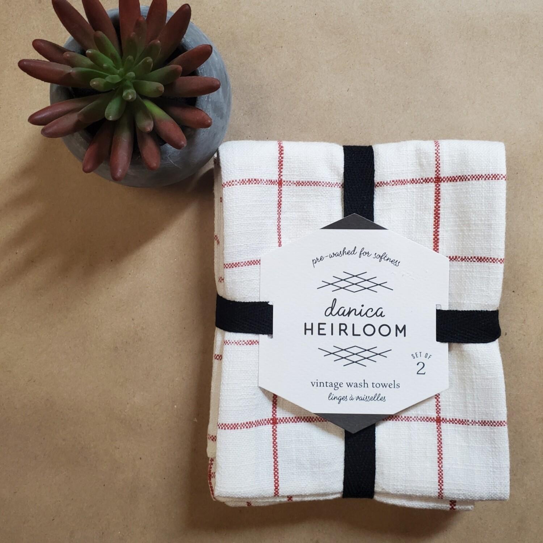 Now Designs Heirloom Vintage Wash Towels (Set of 2) | Clay