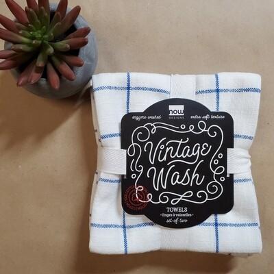 Now Designs Vintage Wash Towels (Set of 2)   Royal