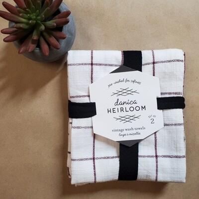 Now Designs Heirloom Vintage Wash Towels (Set of 2)   Wine