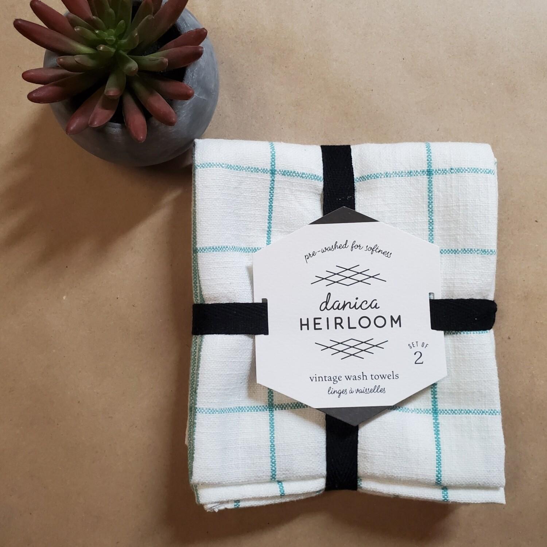 Now Designs Heirloom Vintage Wash Towels (Set of 2) | Lagoon