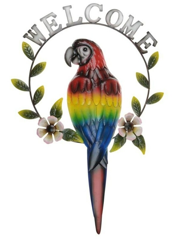 Metal Parrot Welcome Sign