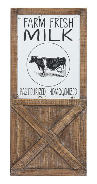 Farm Fresh Milk Barn Door Plaque