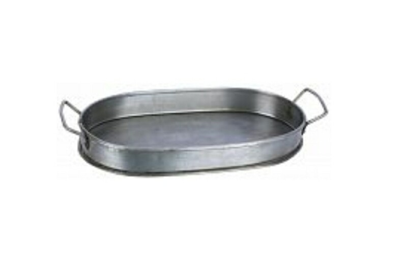 Galvanized Oval Tray - Small