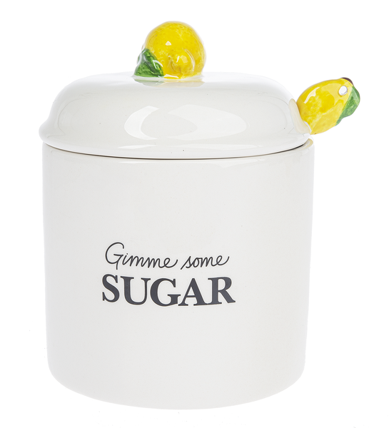 Sugar Jar with Lid and Spoon - Lemon
