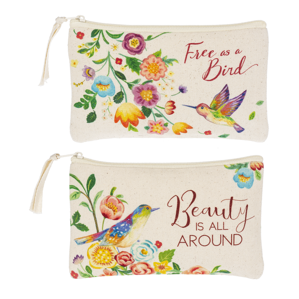 Zippered Canvas Cosmetic Bag - Floral Bird