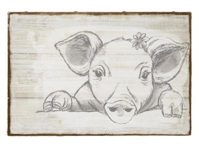Burlap Wall Plaque - Pig