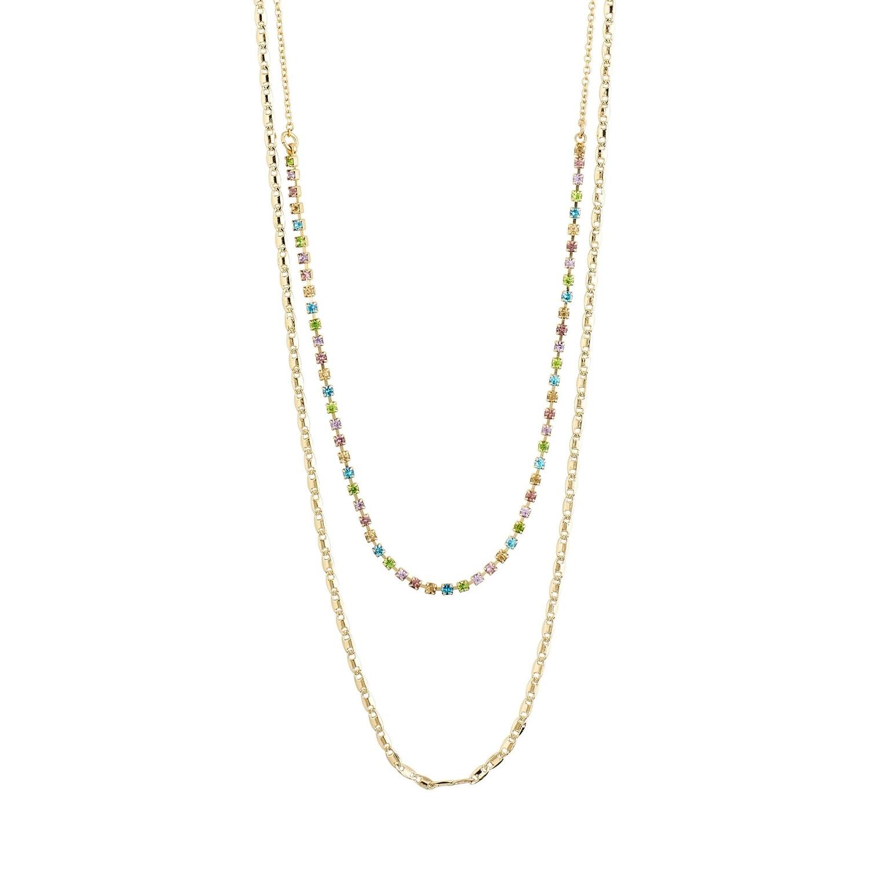 Pilgrim Gold Multi Color Cherished Layered Necklace