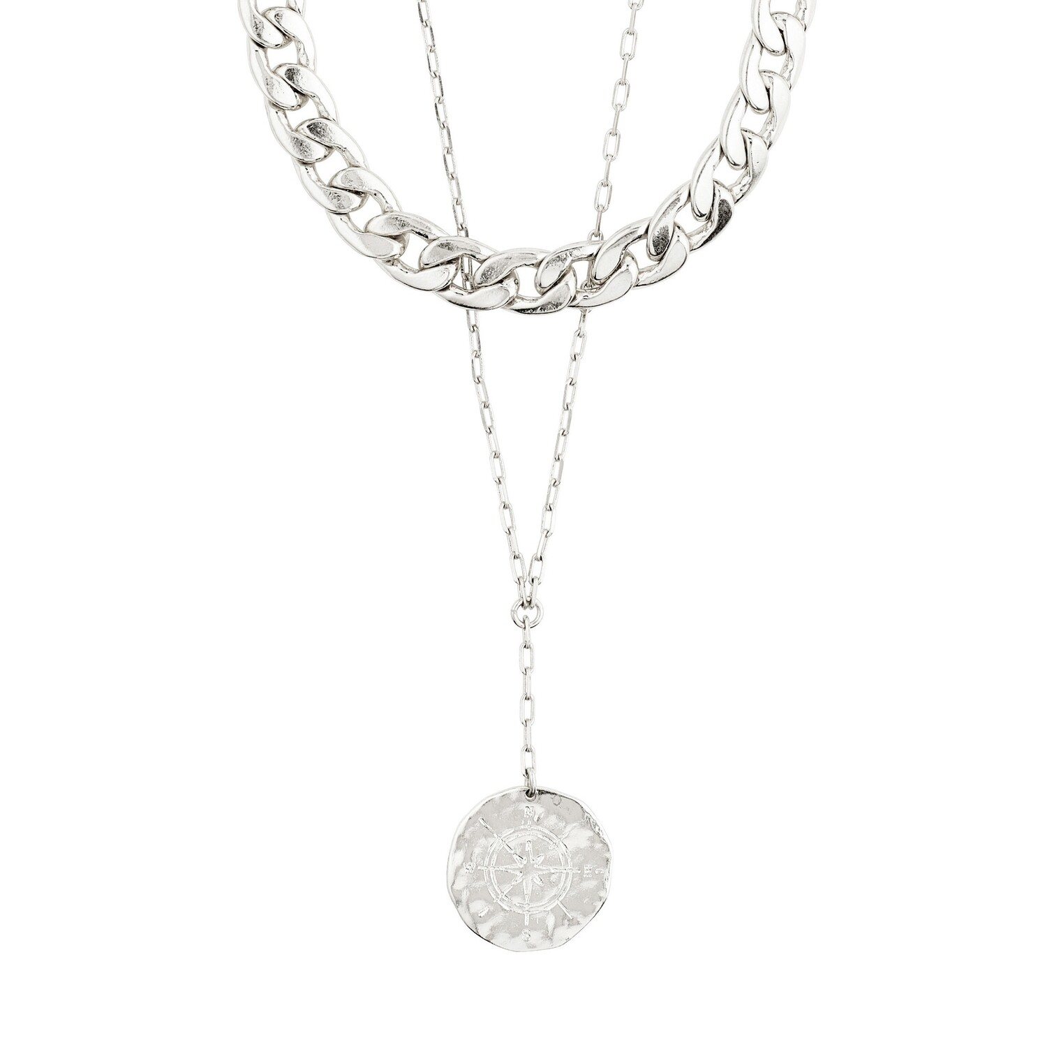 Pilgrim Silver Compass 2-in-1 Necklace