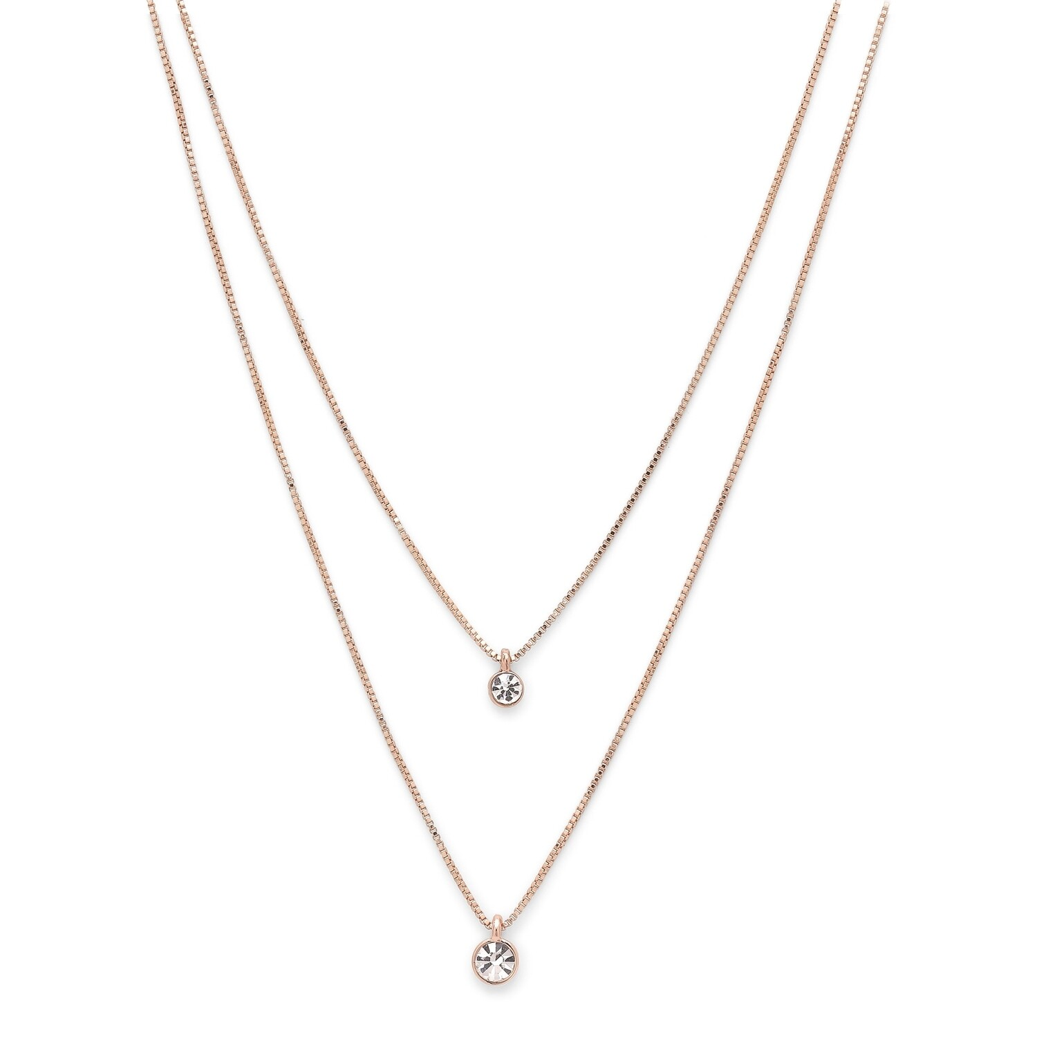 Pilgrim Rose Gold Lucia Double Crystal Necklace