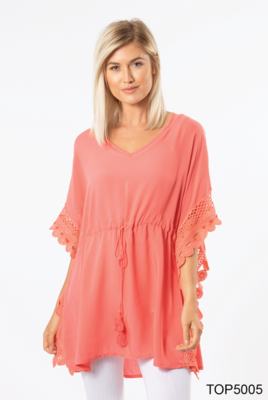 Simply Noelle | Crochet Trim Tunic (Coral or White)