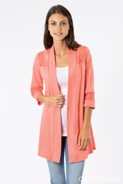 Simply Noelle | Paradise Lace Trim Cardigan (Coral or White)