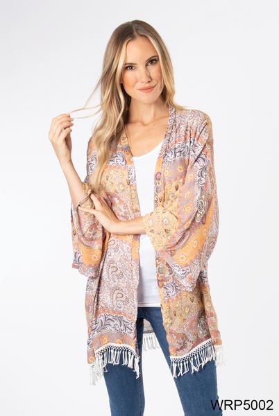 Simply Noelle | Printed Fringe Tassel Kimono (Yellow or Pink)