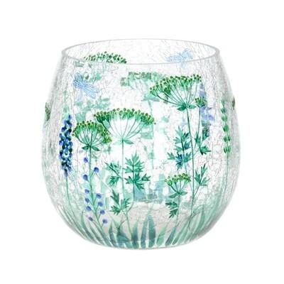 Round Crackle Floral Vase