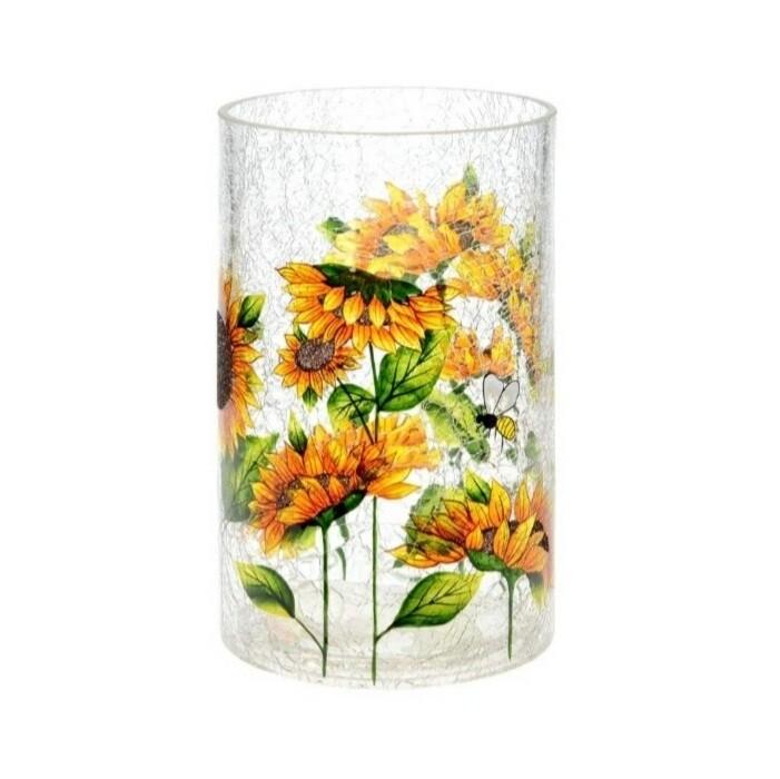 Crackle Sunflower Vase