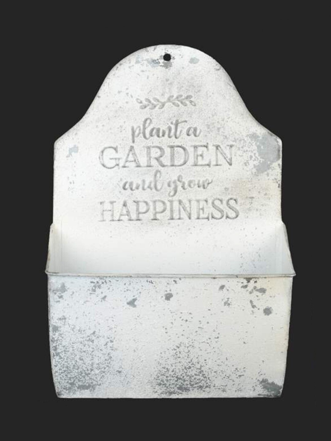 Antique White Metal Wall Planter - Small