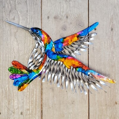 Metal Hummingbird Wall/Garden Art - Rainbow