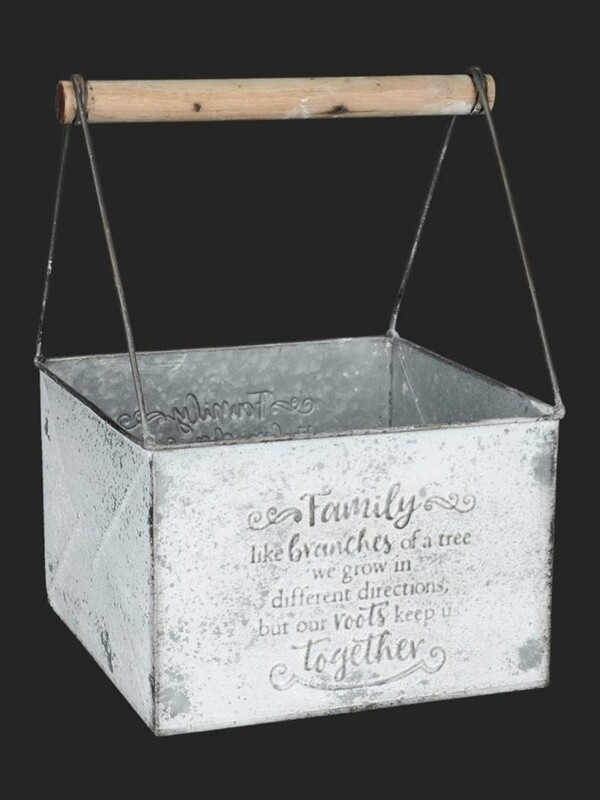 Antique White Metal Box with Handle