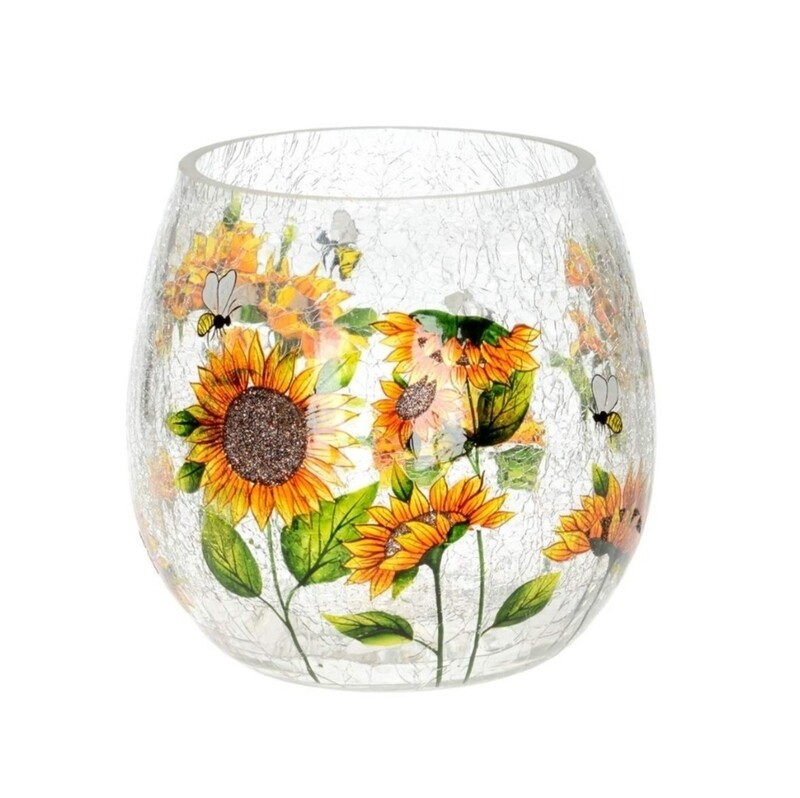 Round Crackle Sunflower Vase