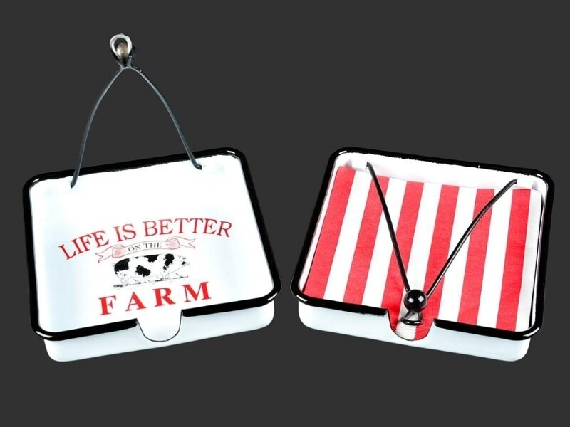 Life is Better on the Farm Enamel Napkin Holder