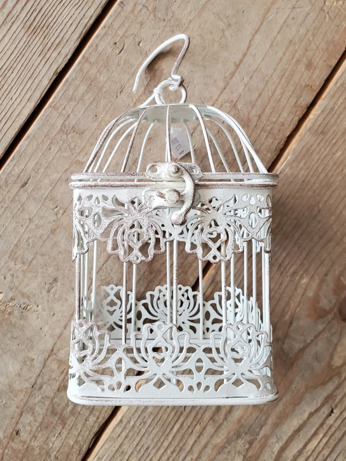Antique White Bird Cage - Small Square