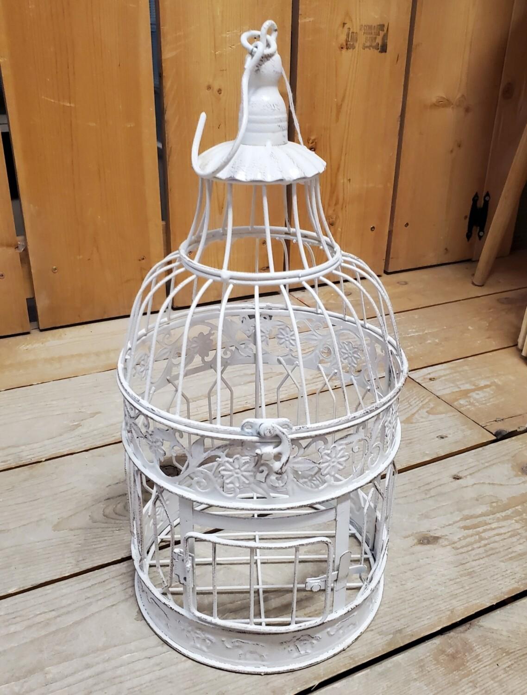 Antique White Bird Cage - Small Round
