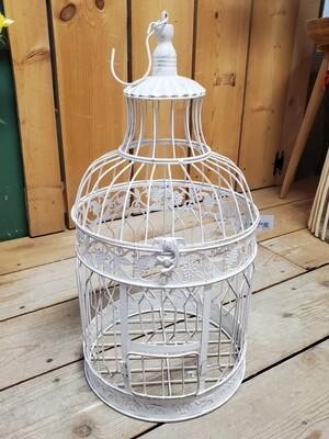 Antique White Bird Cage - Large Round