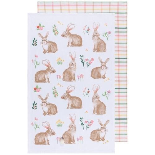 Now Designs Set Of 2 Teatowels   Easter Bunny